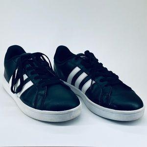 Adidas Black Leather Cloudfoam Advantage Sneaker